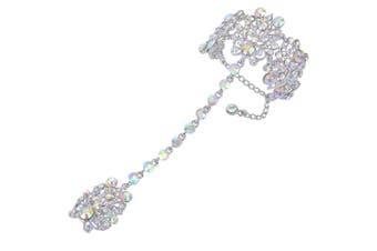 TENYE Women's Crystal Vintage Style Bracelet Adjustable Ring Set Iridescent Clear AB Silver-Tone