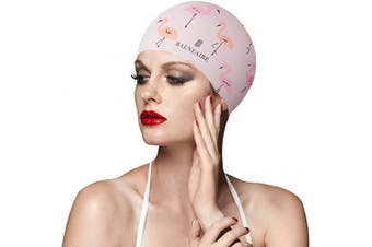 (BIRD LIGHT PINK) - BALNEAIRE Silicone Swim Cap for Women, Waterproof Long Hair Swimming Caps