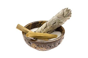 (Deluxe) - Alternative Imagination Soapstone Smudge Bowl Kit with 1 California White Sage Smudge Stick, 2 Palo Santo Smudge Sticks, and 0.2kg of White Sand (Deluxe)