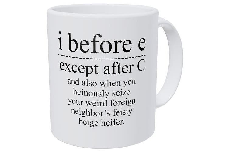 Wampumtuk Grammar I Before E, Except After C And Also When You Feisty Beige Heifer, 330mls Funny Coffee Mug