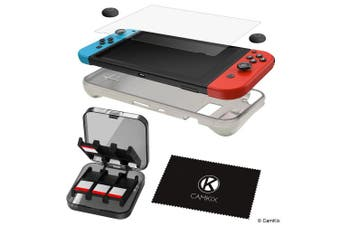 (TPU Case + Screen Protector + Games Case + Grips) - CAMKIX Compatible Storage and Protection Kit Replacement for Nintendo Switch: Silicone TPU Cover, Anti Scratch Screen Protector, Storage Case for 24 Game Cards, Thumb Grip Covers, Cleaning Cloth
