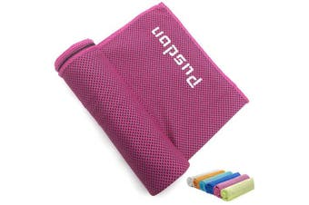 (Instant Cool - 1 Rose Red) - Soft Cooling Towel for Instant Relief, 120cm Extra Long Natural Cool Cloth Scarf, Cold Neck Wrap Chilly Towels for Sports, Workout, Fitness, Gym, Yoga, Pilates, Travel, Camping Outdoor Running & More
