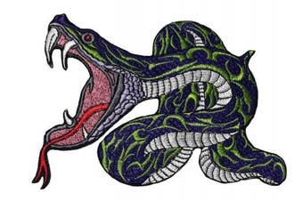 (Medium, Pattern 13) - Snake Large Python Crazy beautiful patch iron on sew on applique (Medium, Pattern 13)