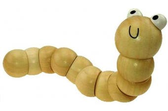 (Natural) - Inware jointed wooden worm, assorted colours