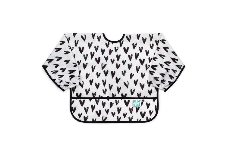 (Prints, Black Hearts) - Bumkins Sleeved Bib / Baby Bib / Toddler Bib / Smock, Waterproof, Washable, Stain and Odour Resistant, 6-24 Months - Black Hearts