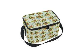 (10x 7inches x 15cm ) - ALAZA Avocado Insulated Lunch Bag Box Cooler Bag Reusable Tote Bag Outdoor Travel Picnic Bag With Shoulder Strap for Women Men Adults Kids