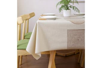 (54x72 inch(137x185cm), Geometry) - LEEVAN Heavy Weight Vinyl Rectangle Table Cover Wipe Clean PVC Tablecloth Oil-Proof/Waterproof Stain-Resistant-140cm x 180cm (Fish)