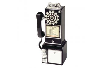 (Black) - Crosley CR56-BK 1950's Payphone with Push Button Technology, Black