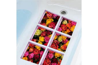(Flower) - ChezMax Nature Series Bath Tub Tattoos Non Slip Tub Stickers 3D Stereoscopic Tub Decals Colourful Flower Pattern Tub Appliques 6 Pcs 15cm X 15cm