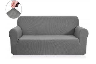 (Loveseat, Light Gray) - CHUN YI 1-Piece Jacquard Stretch Loveseat Slipcover, Polyester and Spandex 2 Seater Cushion Couch Sofa Settee Cover Coat Slipcover, Furniture Protector Cover for Sofa and Couch (Loveseat, Light Grey)