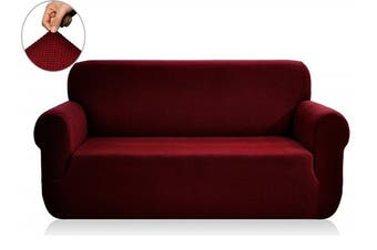 (XL Sofa, Wine) - CHUN YI 1-Piece Jacquard Stretch XL Sofa Slipcover, Furniture Protector Cover for Sofa and Couch Polyester and Spandex 4 Seater Cushion Settee Cover Coat (XL Sofa, Wine)