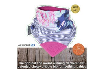 (Pink) - The Original Chewy Teething Bib : Exclusive Joules Range | Floral Stripe Neckerchew with Cerise Pink Teether by CHEEKY CHOMPERS