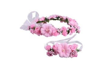 (Pink) - Afinder Women Bridal Flower Wreath Crown Floral Wedding Garland Headband Halo Wrist Band Set Headpiece Hair Accessory with Wrist Corsage