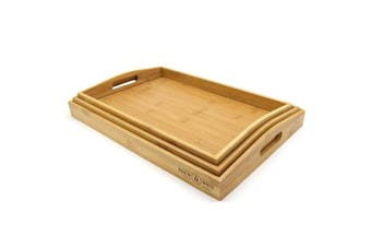 Set of 3 Bamboo Trays   Wooden Serving Tea & Breakfast Platter With Handles M & W