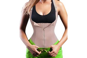 (Small, Beige) - Chumian Women's Underbust Corset Waist Trainer Cincher Steel Boned Body Shaper Vest with Adjustable Straps
