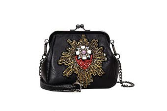 (Pt17) - Abuyall Retro Kiss Lock Pu Leather Chains Minimalist Crossbag Bag Diamonds Appliques Shoulder Purse Handbag Totes Bag Satchel for Ladies M Pt17