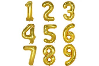 (Number 0, Gold) - 100cm Gold Digital Helium Foil Birthday Party Balloons Number 0