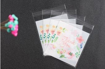 (14x14cm) - HugeDE 200 Pcs Rose Thank You Adhesive Treat Bags Self Sealing OPP Plastic Bags for Bakery Cookies 14x14cm