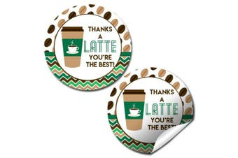 Thanks A Latte Thank You Sticker Labels, 24 5.1cm Party Circle Stickers by AmandaCreation, Great for Party Favours, Envelope Seals & Goodie Bags