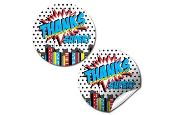 Super Hero Boy Birthday Party Thank You Sticker Labels, 24 5.1cm Party Circle Stickers by AmandaCreation, Great for Party Favours, Envelope Seals & Goodie Bags