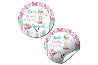 Spa & Pampering Birthday Party Thank You Sticker Labels, 24 5.1cm Party Circle Stickers by AmandaCreation, Great for Party Favours, Envelope Seals & Goodie Bags