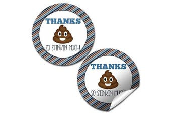 Poop Emoji Birthday Party Thank You Sticker Labels, 24 5.1cm Party Circle Stickers by AmandaCreation, Great for Party Favours, Envelope Seals & Goodie Bags