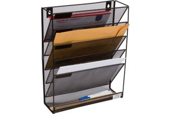 5 Pocket Wall Mounted File Hanging Organiser Metal Mesh Office Home Folder Binder Holder Magazine Mail Rack + Hardware, Black