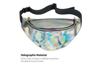 (silver) - AIWENSI Shiny Hologram Fanny Pack Multi-function, Soft PU Laser Fashion Travel Bag Wasit Pack for Women Girls, Rave, Festival, Party