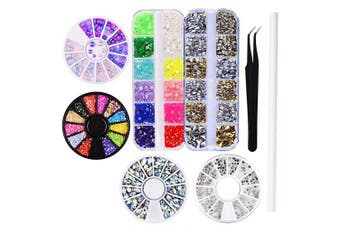 (KIT 2) - WOKOTO 6Pcs Colourful Nail Decoration Fake Diamond Nail Rhinestones Gems Fimo 3D Nail Art Kit For Nails Acrylic With Nail Tweezers And Rhinestone Picker Pencil