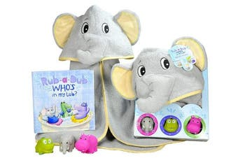 Baby Gift Set- Rub A Dub, Who's in my Tub. 5 Piece Bath Set includes Elephant Hooded Towel, 3 Jungle Safari Squirt Toys, and Book. Adorable Baby Shower Gifts for Boys and Girls!