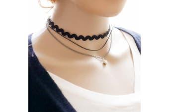 Triple Layer Choker with Wavy Choker and Diamante Stone Fashion Choker Necklace