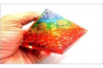 Jet Rainbow Tree of Life Orgone Pyramid Reiki Ions Generator 6.4cm Charged EMF Harmonizer Jet International Crystal Therapy Booklet