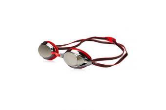 (Red) - Speedo Vanquisher 2.0 Mirrored Swim Goggles, Panoramic, Anti-Glare, Anti-Fog with UV Protection