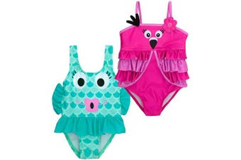 (9 - 12 Months, Flamingo and Fish) - BABY TOWN Infant Baby Girls Novelty Swimming Costume Swimsuit