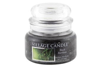 (10.4 x 10.1 x 10.9 cm) - Village Candle Black Bamboo 330ml Glass Jar Scented Candle, Small