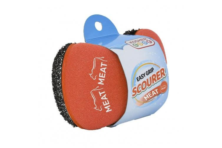 (Red) - Meat Red Scouring Sponge - Easy Grip Handle Scour Pad with Steel Wool – Colour Coded Kitchen Tools by The Kosher Cook