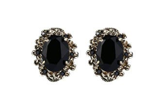 (Black Antique-gold-tone) - Clearine Women's Victorian Style Crystal Floral Cameo Inspired Oval Stud Earrings