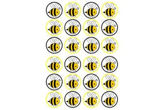 (UNCUT) - 24 Bumble Bee PRECUT Edible Cupcake Toppers - wafer card disc cake decorations STAND UP (UNCUT)