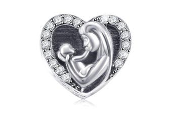 Best Gift for Mom Kids Charm Beads 925 Sterling Silver Charms for Pandora Bracelets Family Love Heart Design Fit Mother's Day