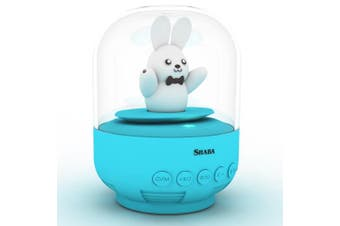 (Blue Prince Bunny) - Speaker for kids, SHABA bell Jar animal pet mini Bluetooth speaker with microphone, wireless cute musical toys for Party, home, bedroom, office(Blue Prince Bunny)