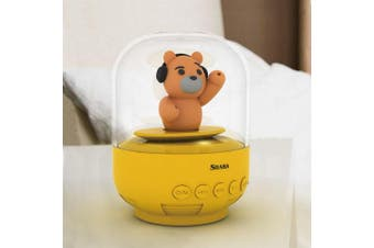 (Yellow Teddy bear) - Speaker for kids, SHABA bell Jar animal pet mini Bluetooth speaker with microphone, wireless cute musical toys for Party, home, bedroom, office (Yellow Teddy bear)