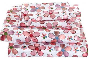 (Full Sheet) - MK Home Mk Collection 4 Pc Full Size Sheet Set Teens/Girls Pink Floral New