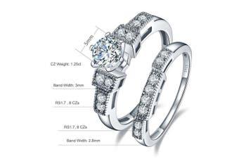 (L 1/2) - Bonlavie 1.25 Carat Round Brilliant CZ Sterling Silver 925 Wedding Engagement Ring Band Set