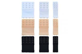 Bantoye 9pcs Bra Extender 2 Hooks/3 Hooks/4 Hooks Nylon Elastic Back Bra Band Extension Strap Black & White & Nude