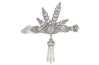 ArtiDeco Vintage 1920s Flapper Headband Crystal Great Gatsby Headpiece 1920s Flapper Gatsby Accessories with Pearl Tassel Leaves Simulated Tiara Silver
