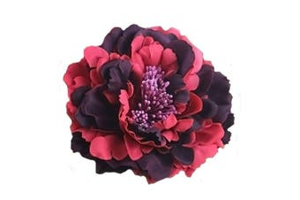 (Wine Red) - Auranso Flower Hair Clip Peony Hairpin Flameno Dancer Pin up Flower Brooch Wedding Bridesmaid Hairpins Vintage Fascinator Wine Red