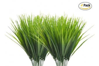(Wheat Grass-4 Pcs) - CATTREE Artificial Shrubs Bushes, Plastic Wheat Grass Green Leaves Fake Plants Wedding Indoor Outdoor Home Garden Verandah Kitchen Office Table Centrepieces Arrangements Christmas Decoration 4 pcs