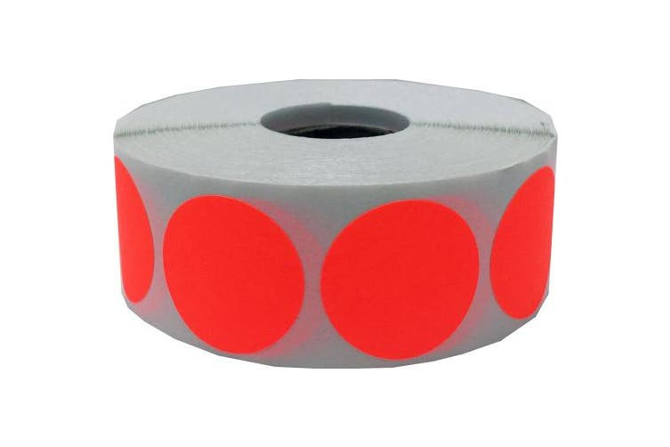 (Fluorescent Red) - Blank Shooting Target Pasters Fluorescent Red 2.5cm Round Circle Dots 500 Adhesive Target Stickers