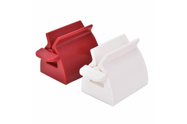 ISKYBOB Set of 2 Rolling Tube Toothpaste Squeezer Dispenser Toothpaste Seat Holder Stand