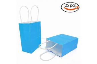 (Light Blue(12 Pcs)(4.3''x 2.3''x 5.9'')) - AZOWA Gift Bags Mini Kraft Paper Bags with Handles(Light Blue, 25 Pcs)